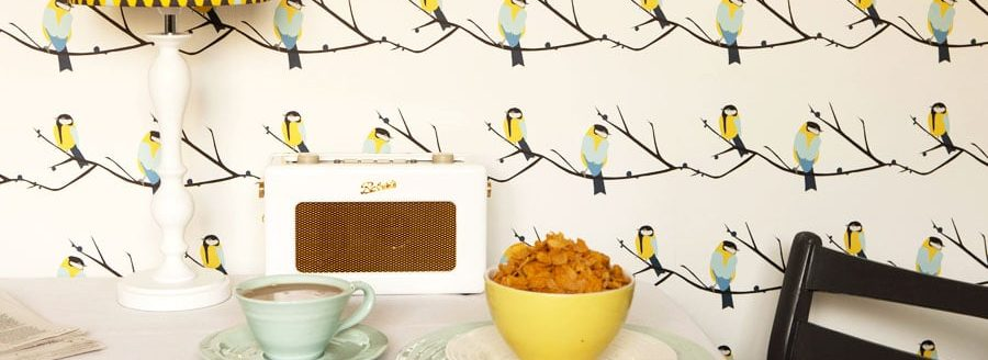 Juneberry Bird British wallpaper designer upcycling designer wallpaper Teal Bird Bee Buzzy Bumble - Great tit bird