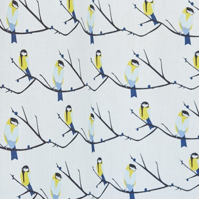 Great tit curtains and blinds - foliage fabric by the metre - Lorna Syson