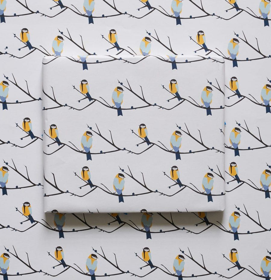 Juneberry and bird, great tit wrapping paper designed by Lorna Syson