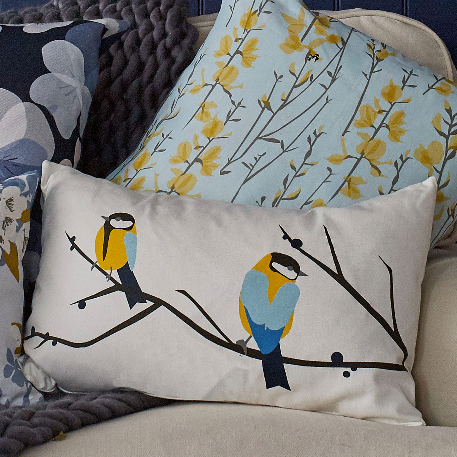 great tit cushion by lorna syson