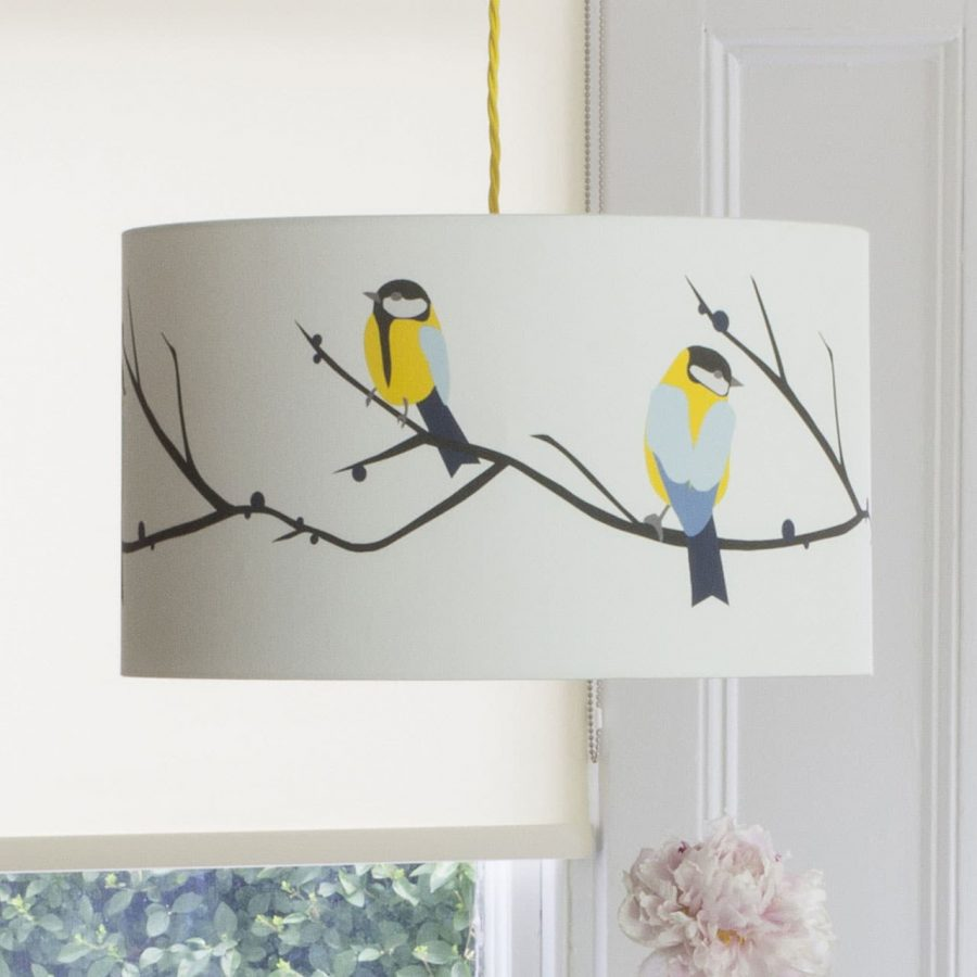 Juneberry and bird lampshade by Lorna Syson