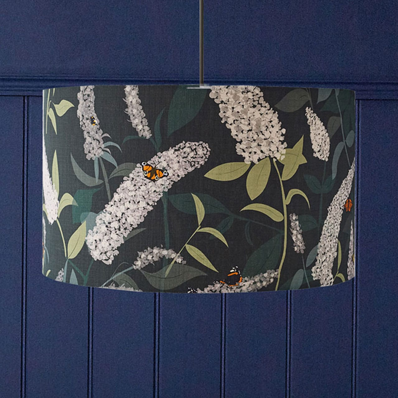 Butterfly lampshade - buddleia design - dark green - lorna syson homeware