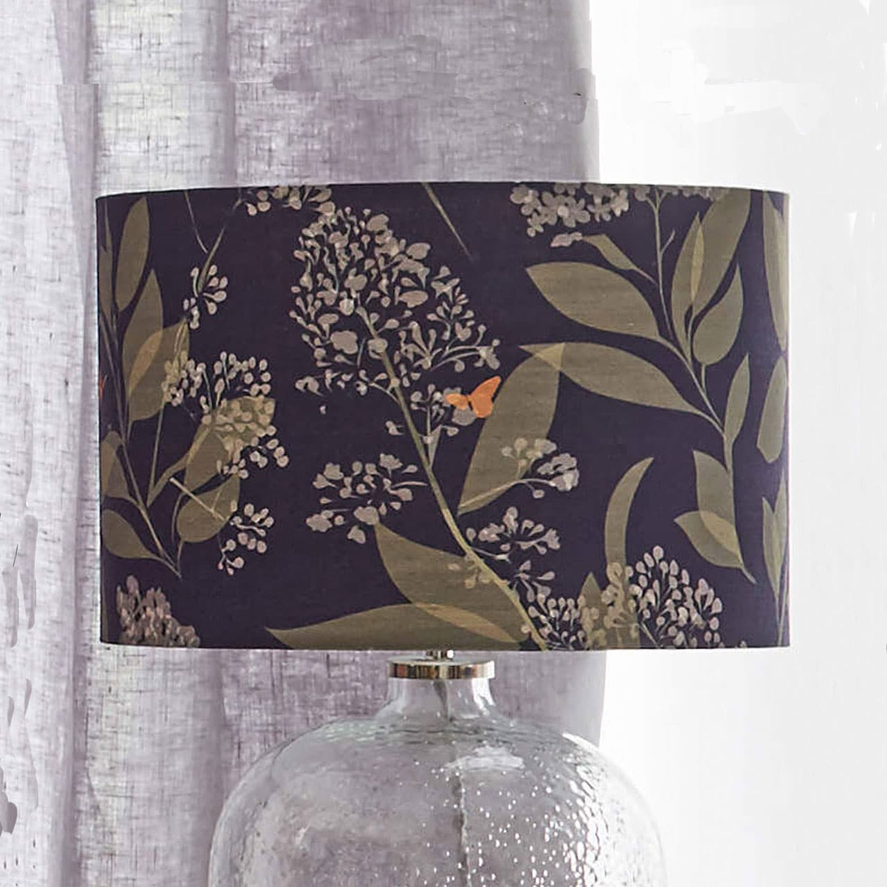 Butterfly lampshade - butterfly and foliage design - copper and green - lorna syson homeware