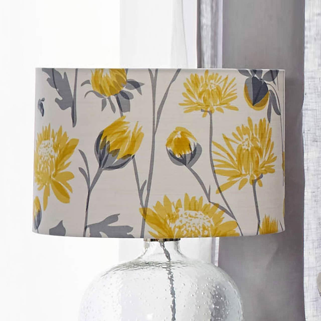 floral lampshade - chrysanthemum and bee design - floral - lorna syson homeware
