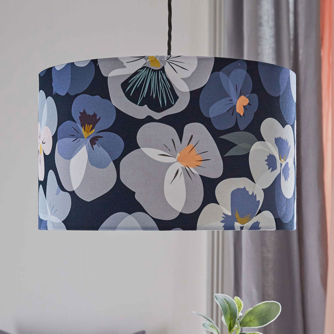 floral lampshade - pansy design - blue and pink hues - lorna syson homeware