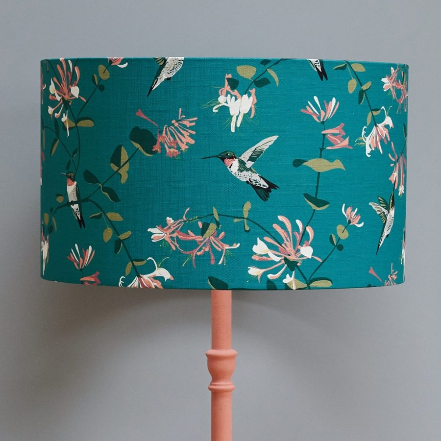 lampshade, designer lampshade, british lampshade, lighting, drum lampshade, lamp, hummingbird lampshade, teal lampshade rspb hummingbird teal lampshade designed by lorna syson