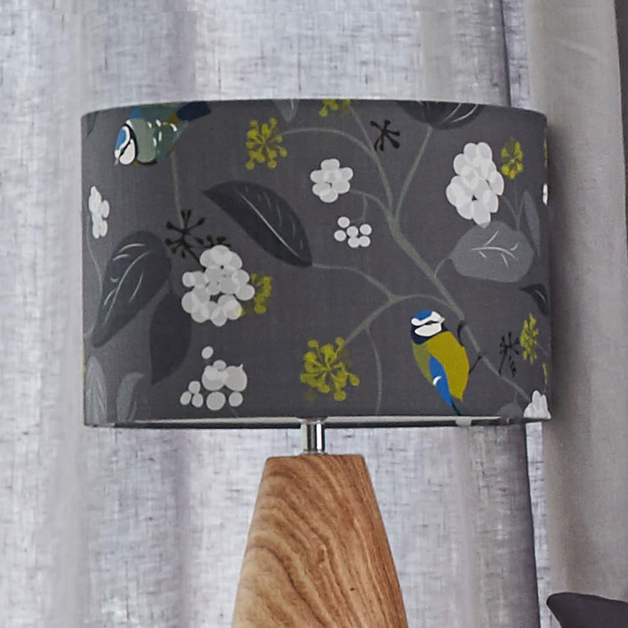 blue tit lampshade - bird and Ivy design - blue tit - lorna syson homeware