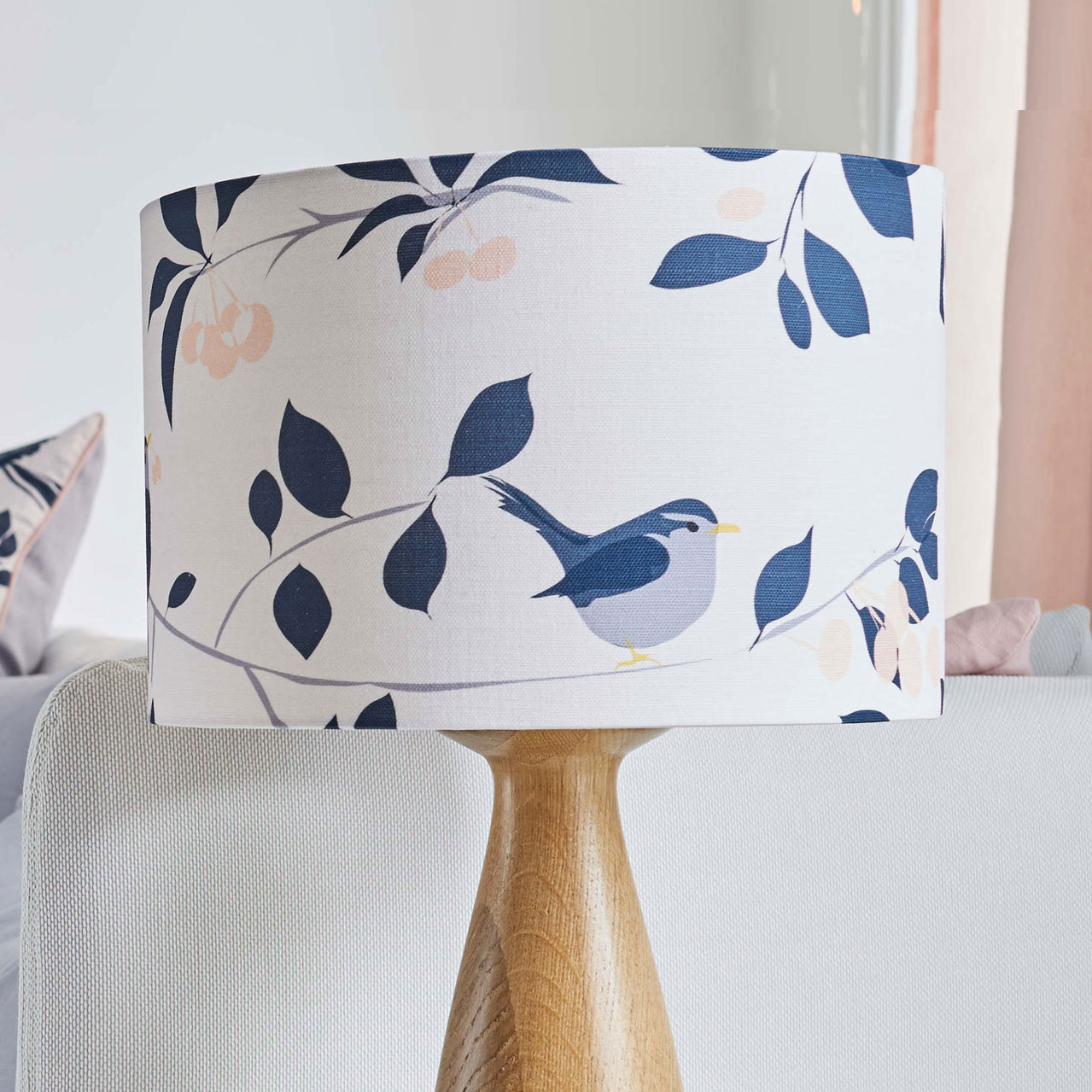 Pink Bird lampshade - wren bird and cherry tree design - lighting - lorna syson homeware