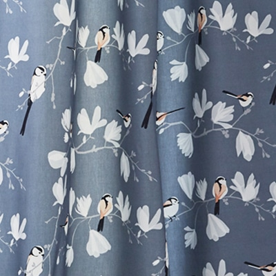 Lorna Syson long tailed tit fabric - fabric for blinds - bird and foliage