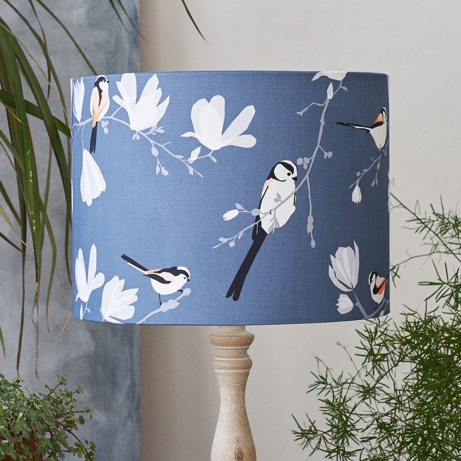 bird lampshade - Long Tailed Tit design - pink bird - lorna syson homeware