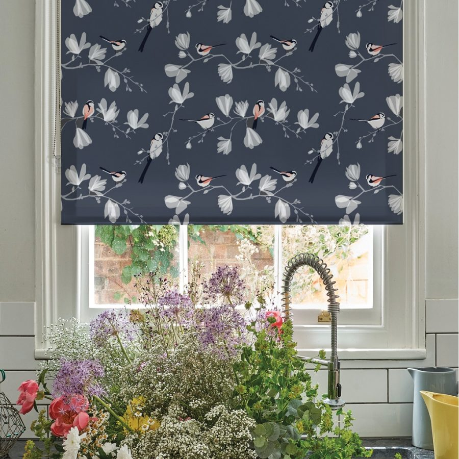 long tailed tit roller blind designed by Lorna Syson printed by order blinds