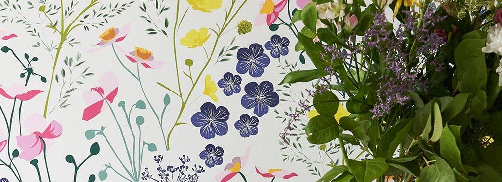 Wild Geranium Wallpaper Buttercup Yellow Flowers Japanese Designer Fabric Indigenous UK Wildflowers Floral Wrapping PaperInterior Designer Print Bespoke Handmade Great British Flora