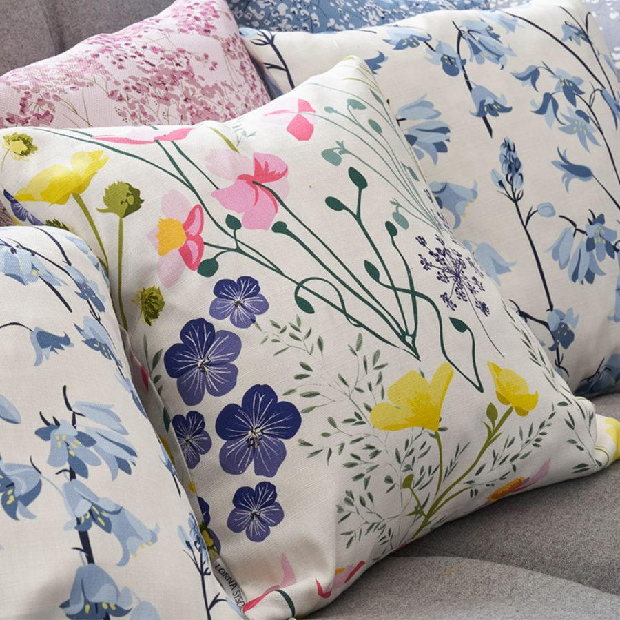 cushion, bird cushion, floral cushion, luxury cushion, designer cushion, uk designer, RSPB cushion, designer home, designer interiors, bird design, wildflower-floral-designer-homeware