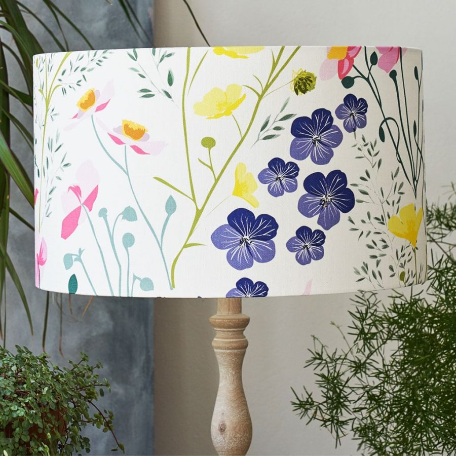 Floral designer lampshade in meadow pattern