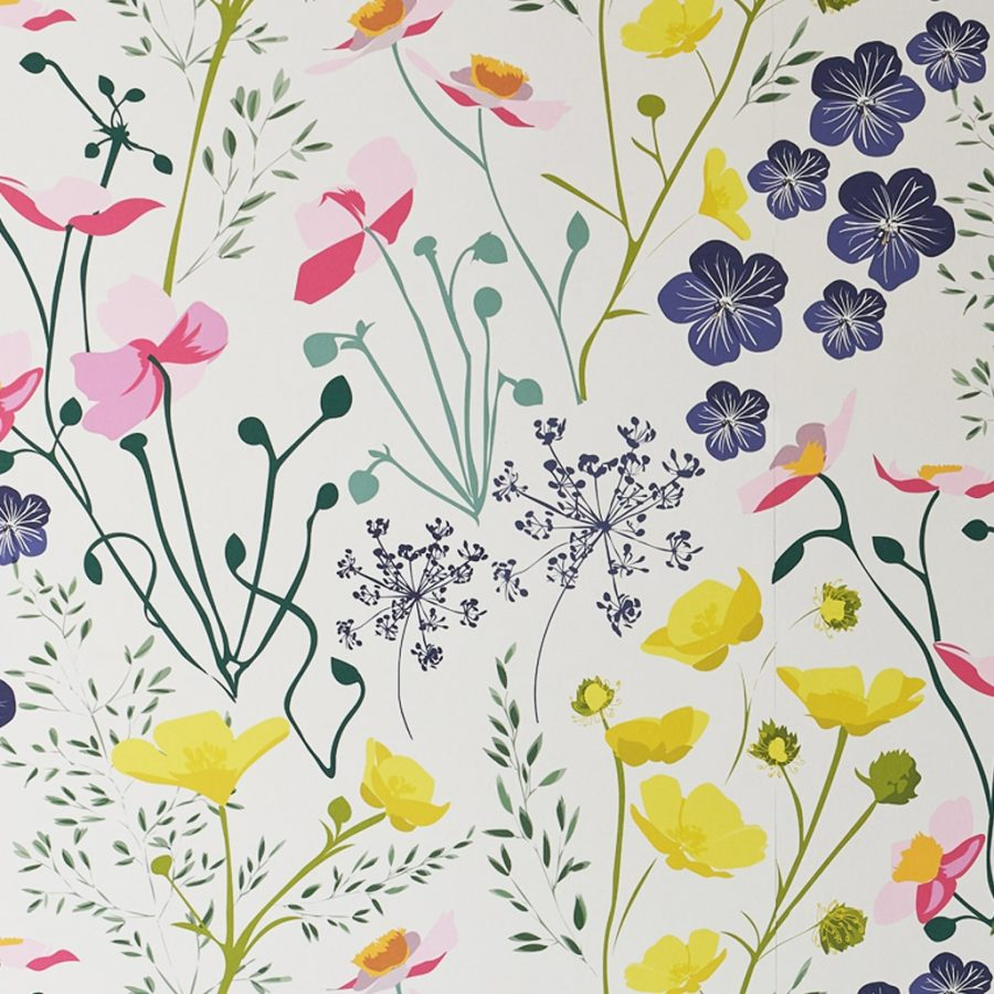 Floral meadow wallpaper by designer lorna syson