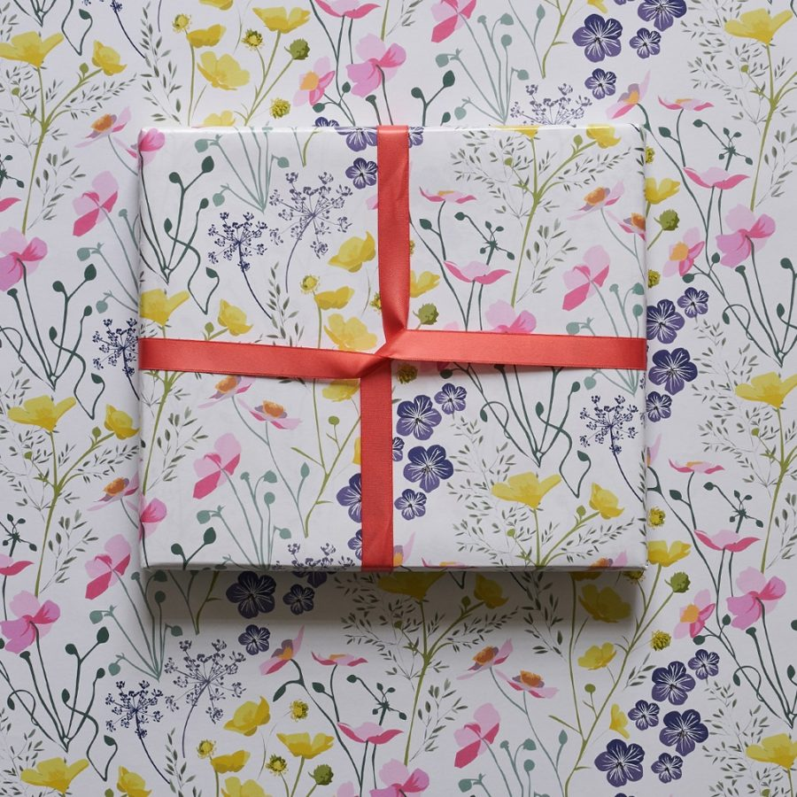 wrapping paper, luxury wrapping paper, gift wrap, plastic free, FSC Paper, enviromentally friendly, sustainable, birthday paper, birthday wrapping paper. gifts meadow wrapping paper, illustrated floral wrapping paper designed by Lorna Syson