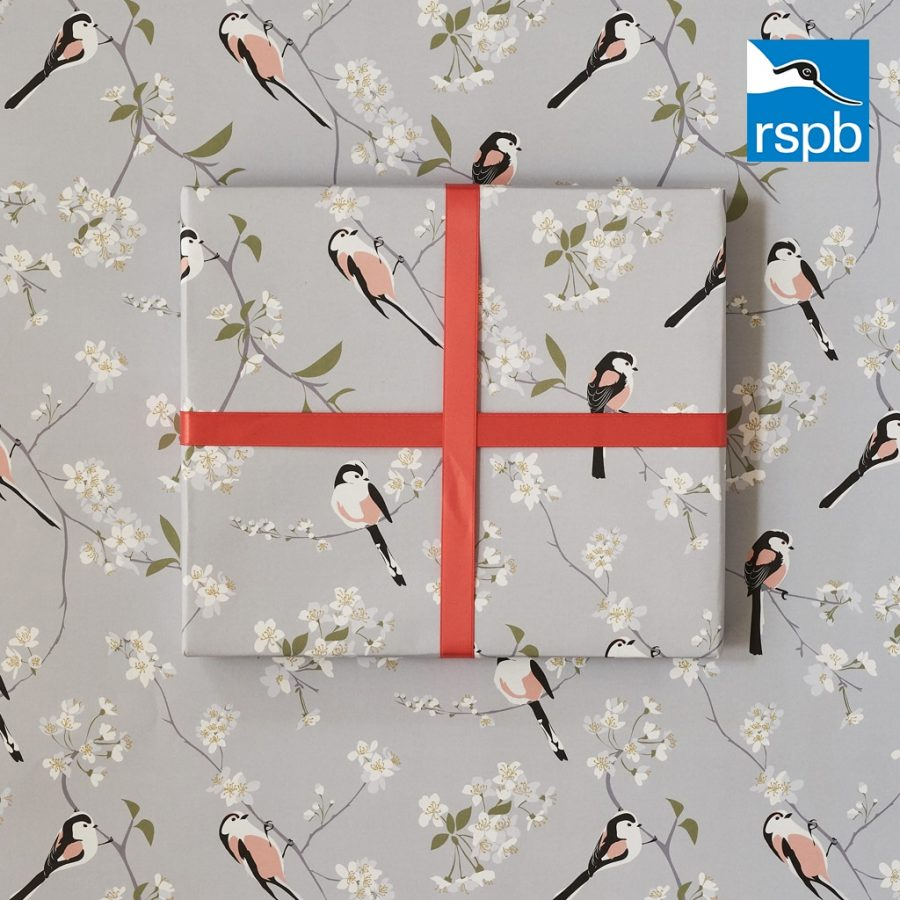 wrapping paper, luxury wrapping paper, gift wrap, plastic free, FSC Paper, enviromentally friendly, sustainable, birthday paper, birthday wrapping paper. gifts, RSPB, bird design RSPB long tailed tit design by Lorna Syson. Designer gift wrap