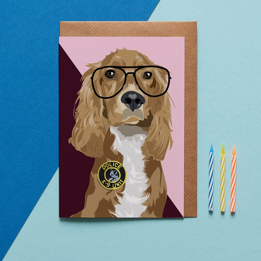 Greetings Card Luxury Designer Personalised Message Sustainable Environmentally Friendly FSC Paper Plastic Free -cocker spaniel