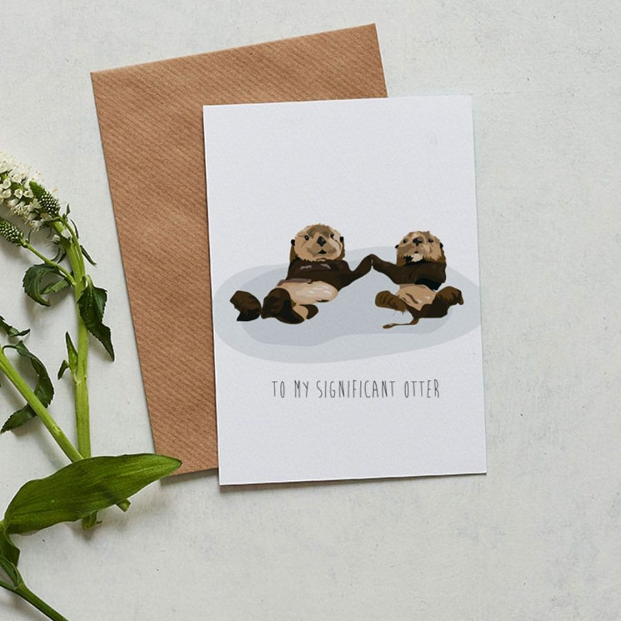 Greetings Card Luxury Designer Personalised Message Sustainable Environmentally Friendly FSC Paper Plastic Free - significant otter