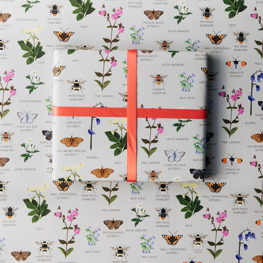 wrapping paper, luxury wrapping paper, gift wrap, plastic free, FSC Paper, enviromentally friendly, sustainable, birthday paper, birthday wrapping paper. gifts, RSPB, bird design oxfordshire wildlife wrap bees, butterflies, wildflowers