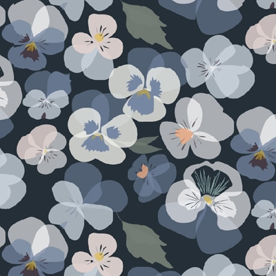 Blue floral wallpaper - Pansy flowers - Lorna Syson