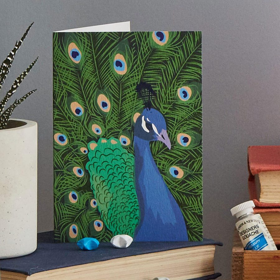 preston the peacock card by Lorna Syson
