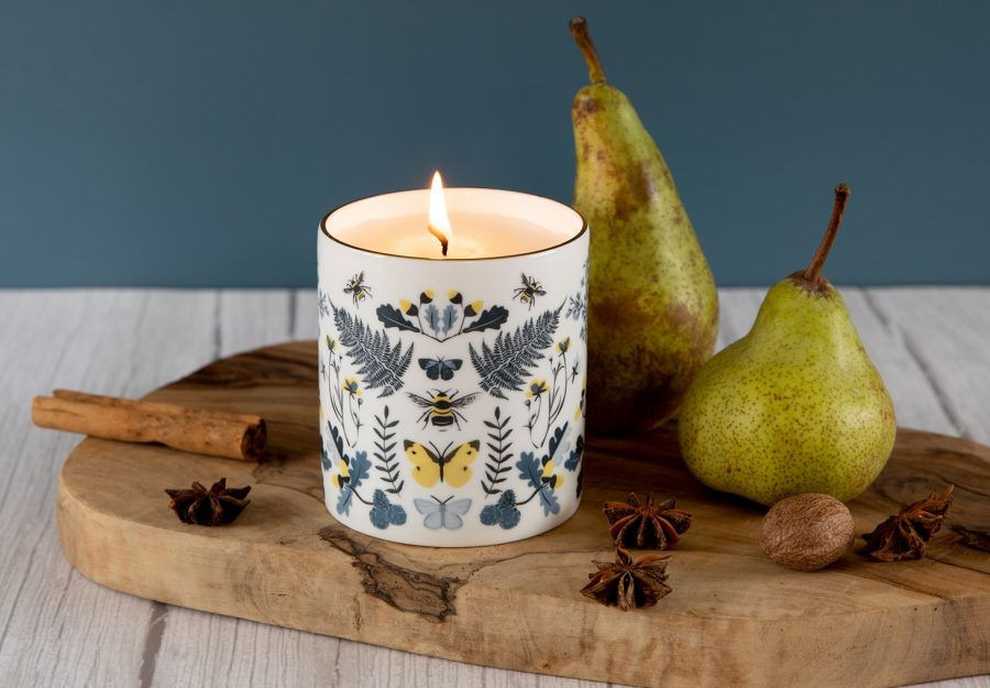designer candle eco friendly soy candle Luxury Ceramic Scented Candle Gifts Handmade UK Luxury Candles Reusable British Wilflowers English Yellow Bee Buttercup Designer Floral Butterfly Flowers Vegan Coconut Wax