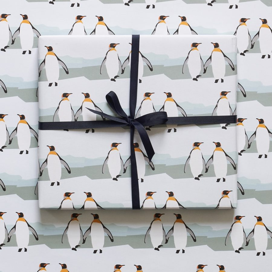 wrapping paper, luxury wrapping paper, gift wrap, plastic free, FSC Paper, enviromentally friendly, sustainable, birthday paper, birthday wrapping paper. giftsPenguin wrapping paper designed by Lorna Syson