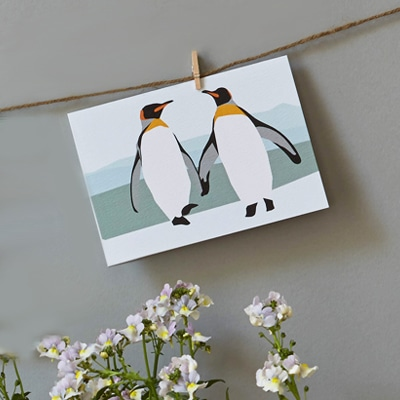 peter and paul penguins card designed by lorna syson