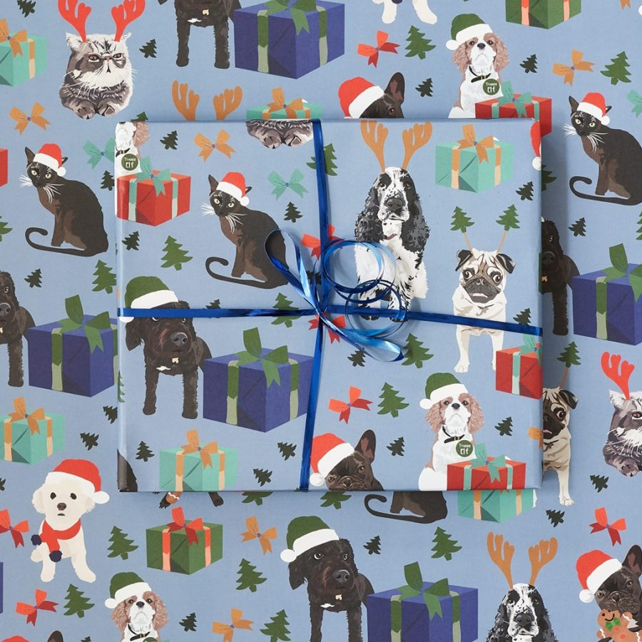 Pet presents wrapping paper with spaniel, cockapoo and cat