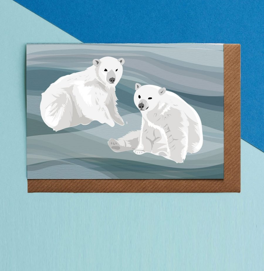 Wildlife Card - Polar Bears Illustration - Lorna Syson