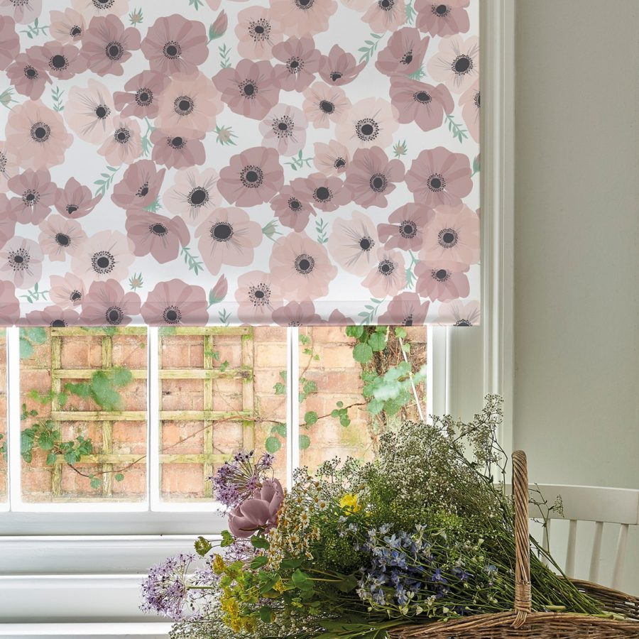 pink poppy roller blind - poppies and anemones - lorna syson homeware
