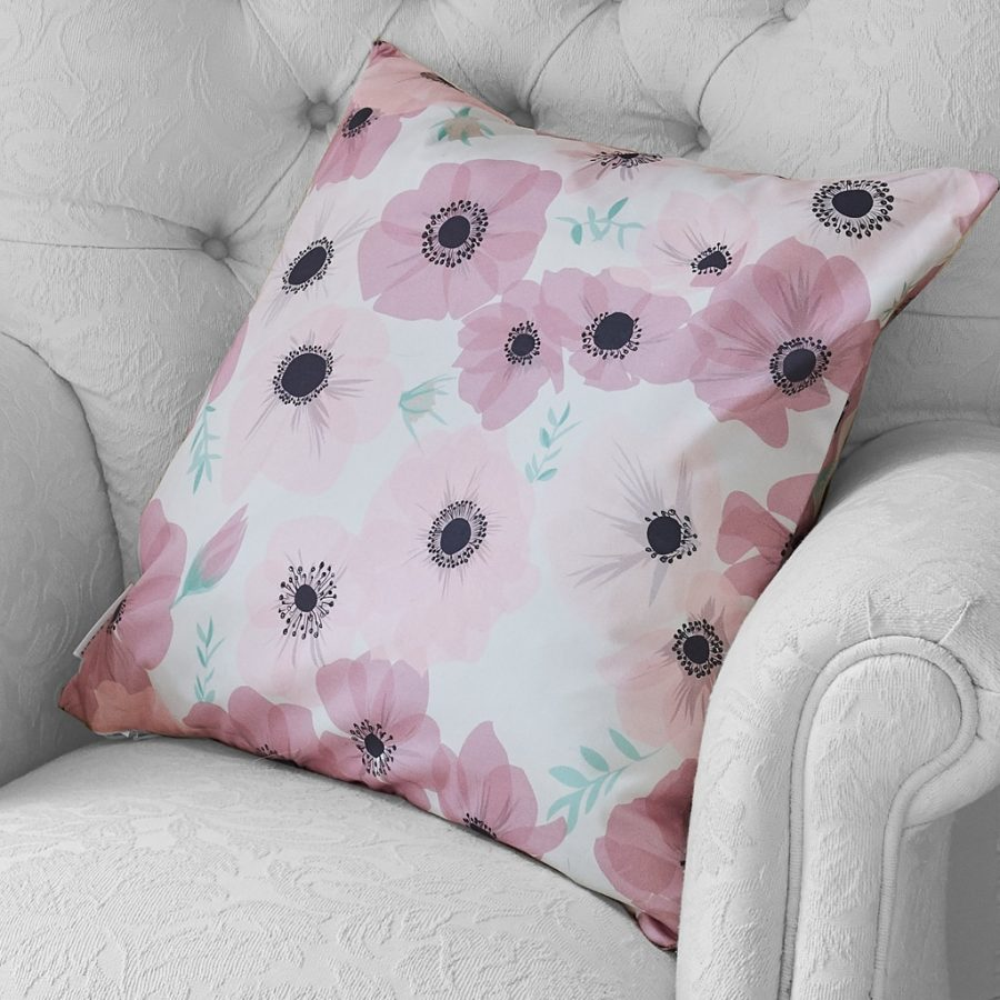 posy blush cushion, poppy design by lorna syson in blush pink