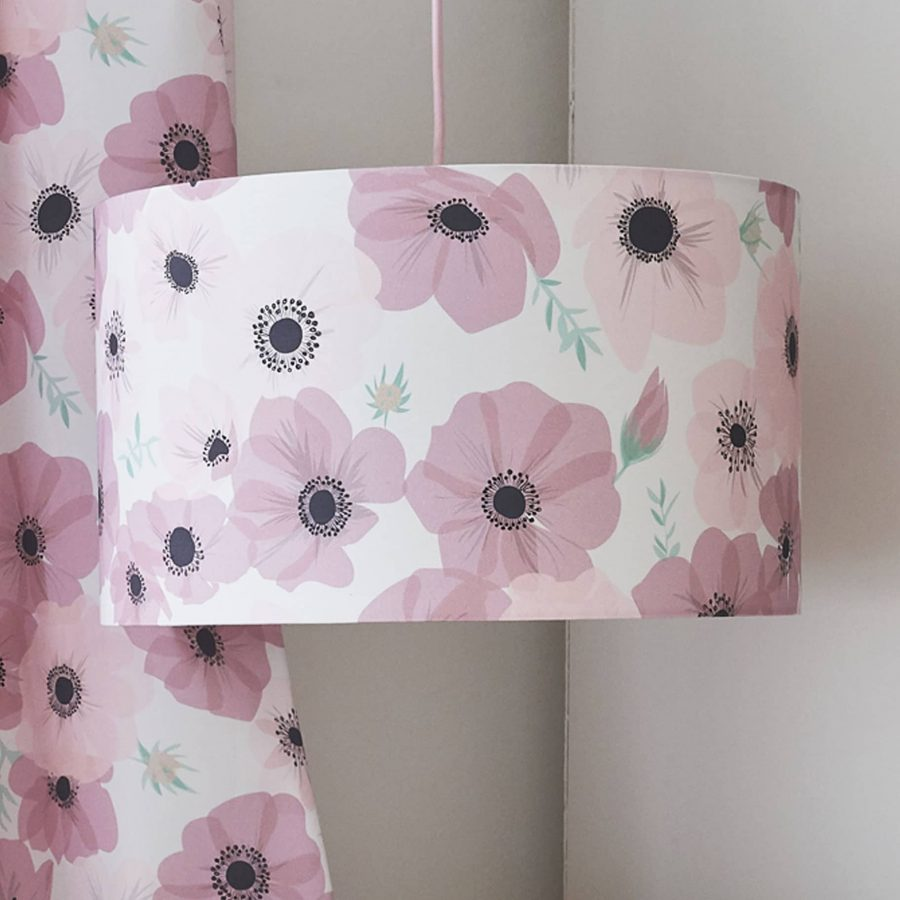 Floral lampshade - pink poppy - blush pink - lorna syson homeware