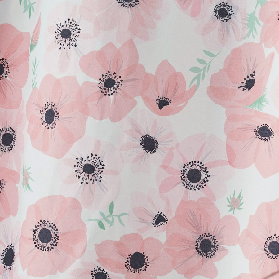 pink poppy fabric - pink poppies - fabric by the metre