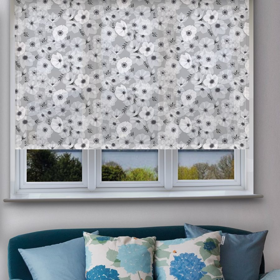 grey poppy roller blind - poppies and anemones - lorna syson homeware