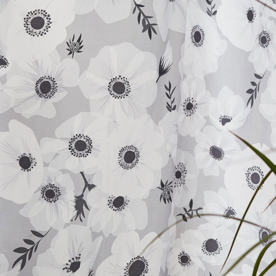 Floral monochrome fabric - grey poppies - fabric for curtains