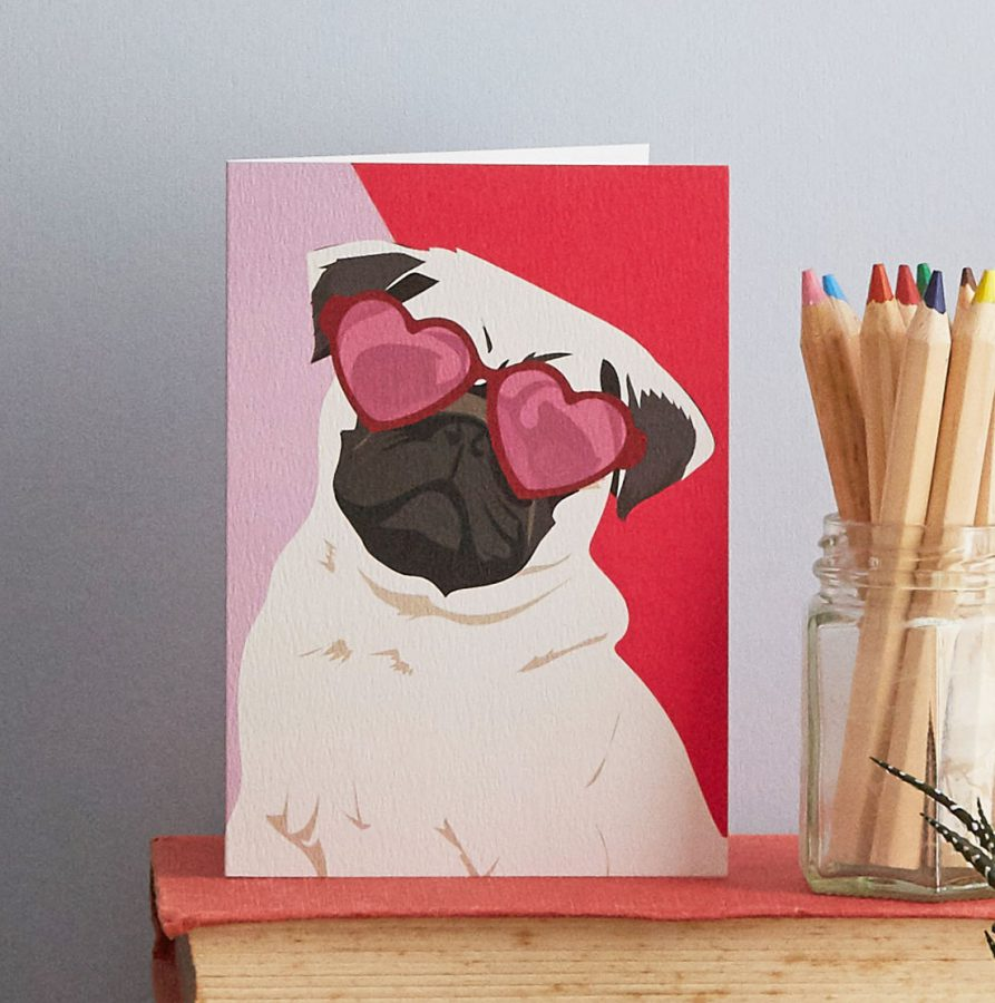 quincy pug dog greetings card by lorna syson stationery