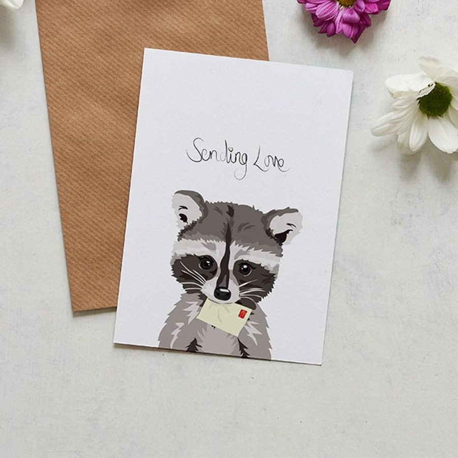 Greetings Card Luxury Designer Personalised Message Sustainable Environmentally Friendly FSC Paper Plastic Free -Sending Love Raccoon Card Designed by Lorna Syson