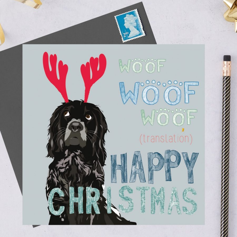 Christmas Card Luxury Designer Personalised Message Sustainable Environmentally Friendly FSC Paper Plastic Free hearing dogs dog charity card charity greetings card - spaniel black