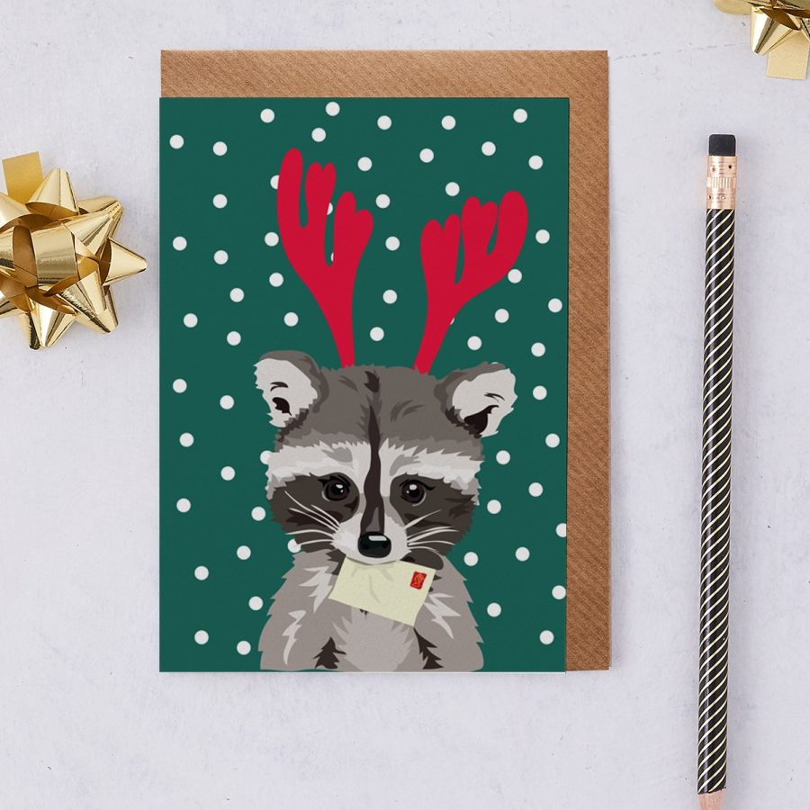Christmas Card Luxury Designer Personalised Message Sustainable Environmentally Friendly FSC Paper Plastic Free - Rebecca the Christmas racoon