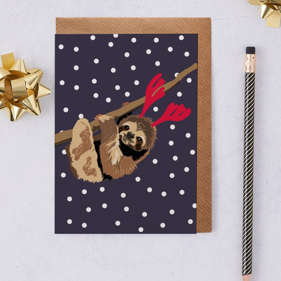 Christmas Card Luxury Designer Personalised Message Sustainable Environmentally Friendly FSC Paper Plastic Free - Ria the Christmas sloth greeting card