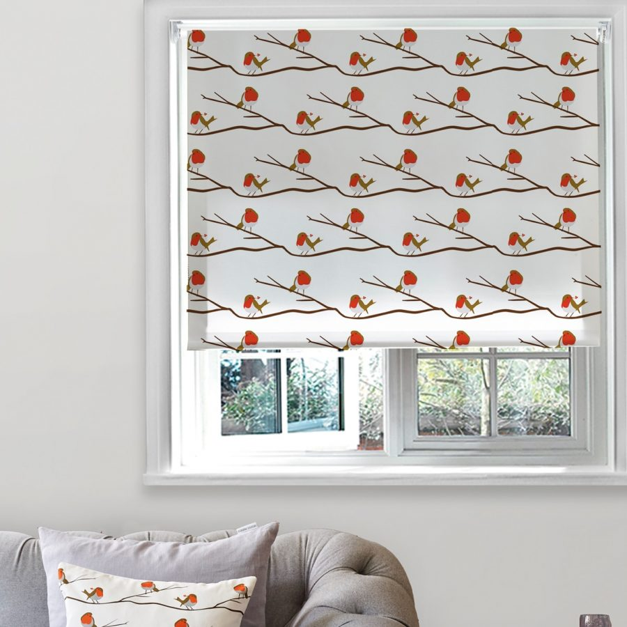 robin roller blind - robin bird and berry design - lorna syson homeware