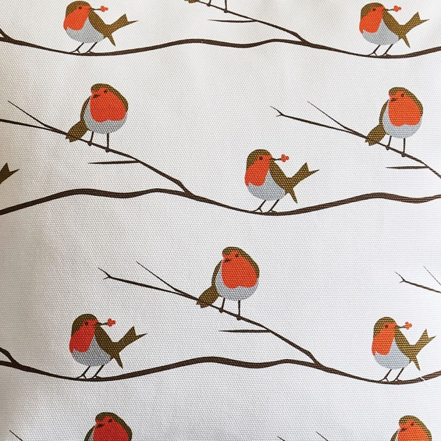 Robin red breast fabric - bird fabric by the metre - Lorna Syson living