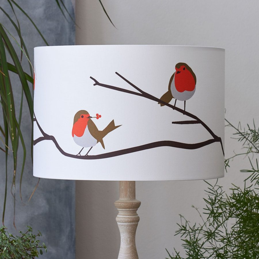 Robin lampshade - robin red breast bird design - lorna syson homeware