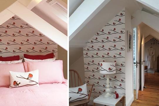 Rred Robin Luxury Designer Wallpaper Handmade UK Designer Floral Fabrics Lampshades Interior Accessories Bespoke British Birds Wildlife Flowers