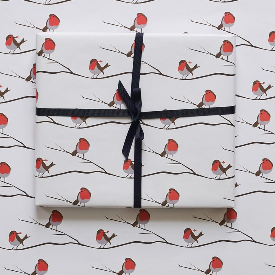 robin wrapping paper designed by Lorna Syson printed in the UK