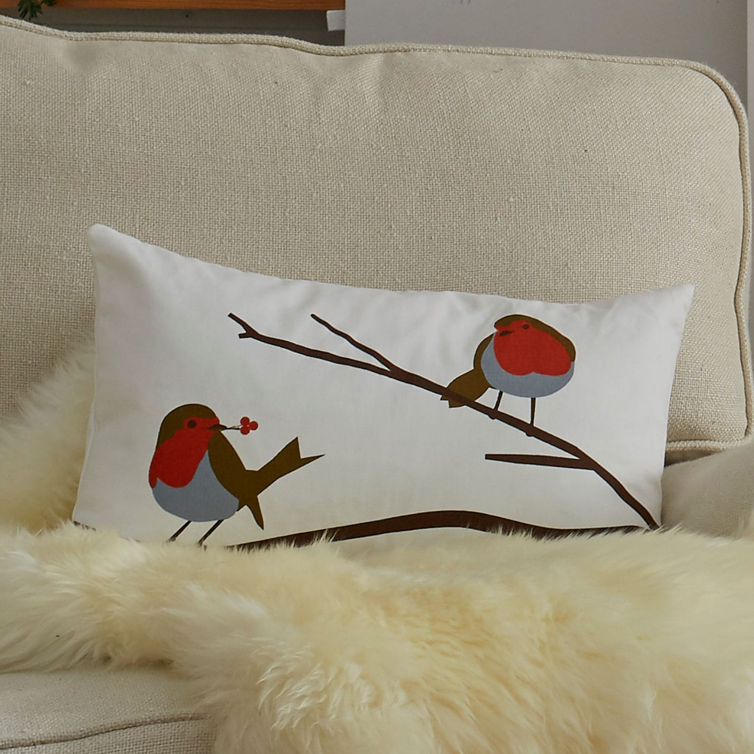 Robin cushion - bird design - Robin Red Breast - lorna syson interiors