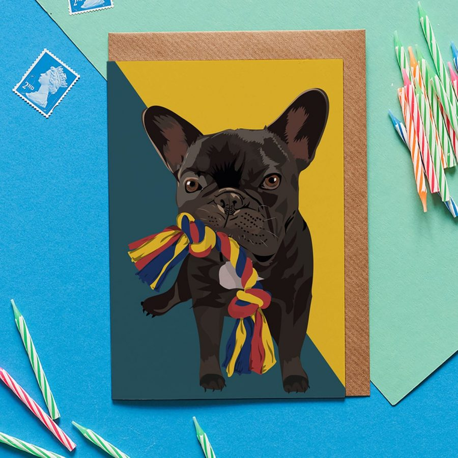 Greetings Card Luxury Designer Personalised Message Sustainable Environmentally Friendly FSC Paper Plastic Free - french bulldog