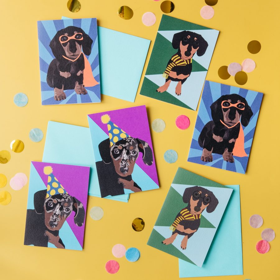 set os 6 sausage dog greeting cards, luxury card, FSC paper, eco friendly card, printed in the UK, set of 6 cards
